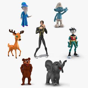 3D cartoon rigged characters 4 model