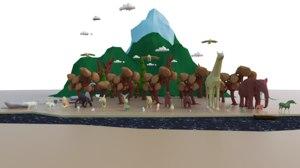pack nature grass rocks 3D model