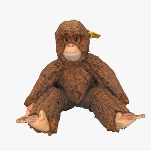 3D monkey stuffed toy model