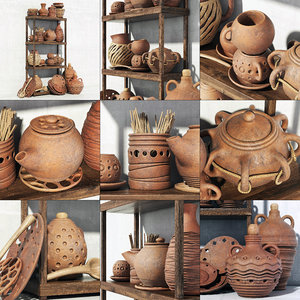 dishes clay 3D