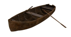 3D old wooden rowing boat