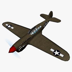 3D curtiss p-40 warhawk polys model