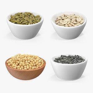 3D beans seeds bowl model