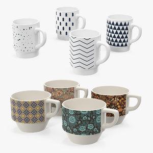 3D ceramic mugs model