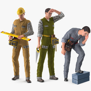 3D rigged workers works model