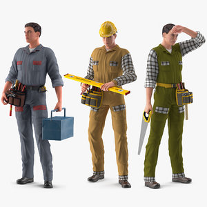 rigged workers works modo model