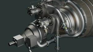 rocket engine rl10a 3D model