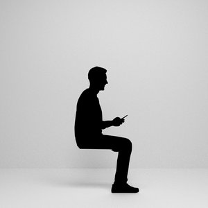 man sitting silhouette 3D model
