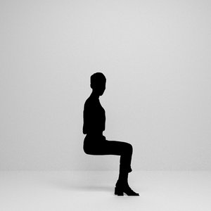 woman sitting silhouette 3D model