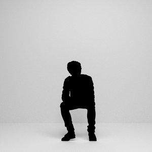 3D man sitting silhouette