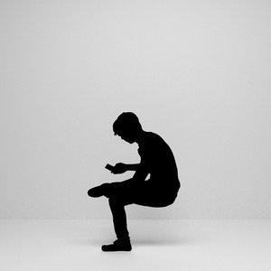 man sitting silhouette 3D model