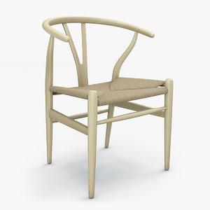 wishbone chair hans wegner 3D model