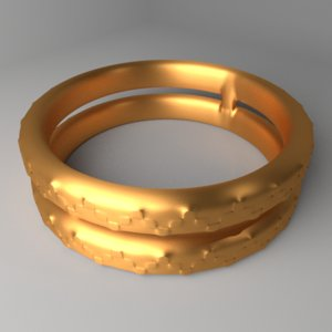 3D gold ring 3