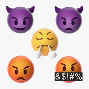 emoji angry faces 3D model