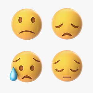 3D emoji disappointed faces