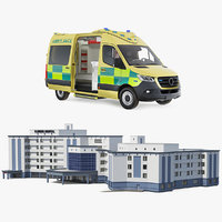 Hospital Building with Emergency Ambulance Collection
