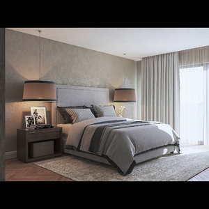 photo-realistic bedroom scene v-ray 3D model