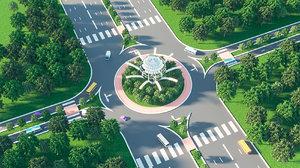 road design roundabout 3D