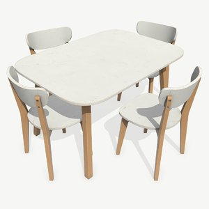 3D model low-poly old dining table