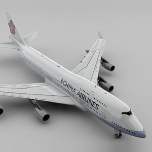 3D model boeing 747 china airlines