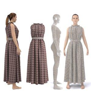 3D character female clothing dress