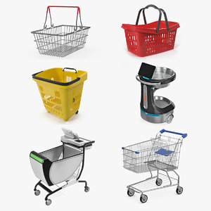shopping baskets trolley 2 3D