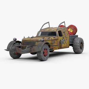 3D fictional post apocalyptic hot rod model
