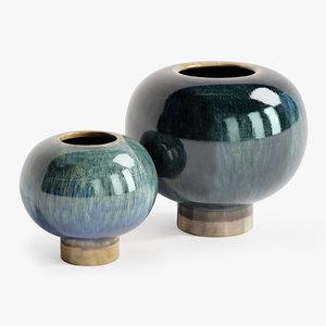 3D arteriors tuttle vases set model