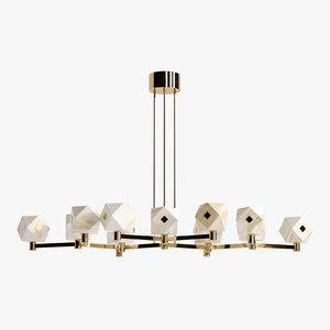 3D model diamonds chandelier brass
