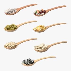 wooden spoons seeds 3D model
