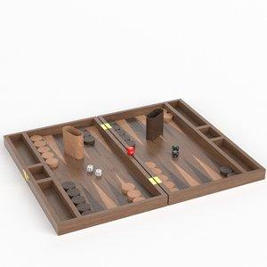 3D model backgammon board set