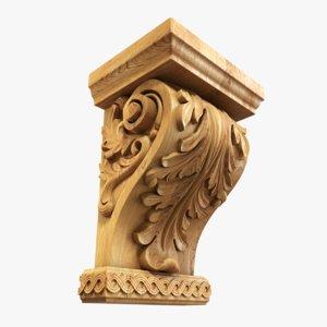 3D wood corbel decoration