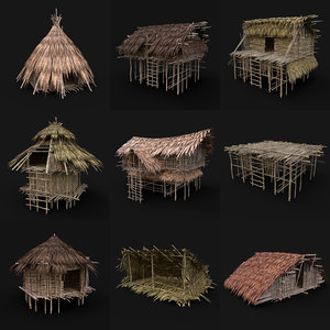3D model jungle tribal huts aaa