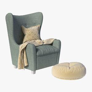 3D chair footrest model