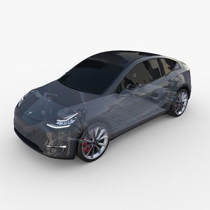 tesla y awd chassis 3D