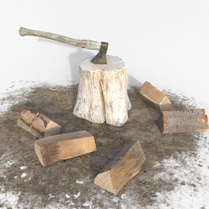 3D realistic tree stump axe