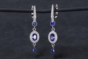 3D jewellery women earrings stones model