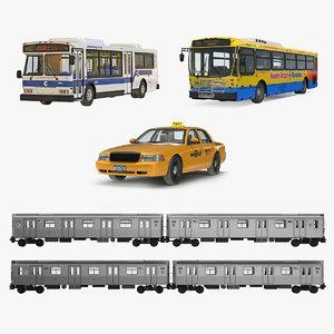 3D ny public rigged vehicles