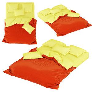 3D model 2 mattress pillows blanket
