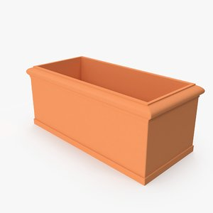 3D terra cotta planter box model