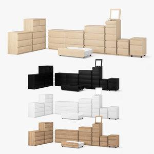 3d model ikea malm drawer set
