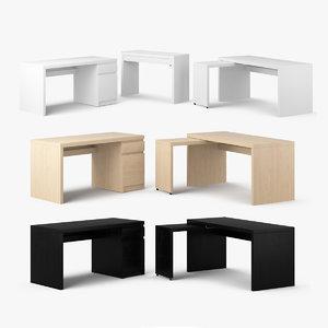 3d model ikea malm table set