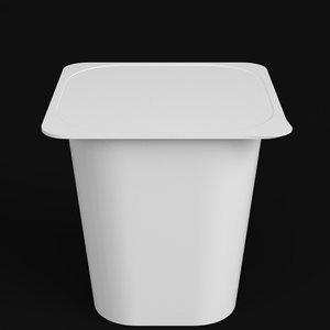 3D yogurt square cup closed