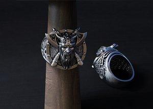 jewellery ring viking 3D