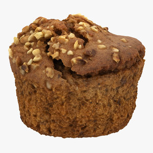 3D model hazelnut muffin