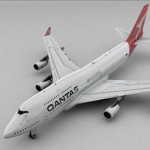 3D boeing 747 qantas l803 model