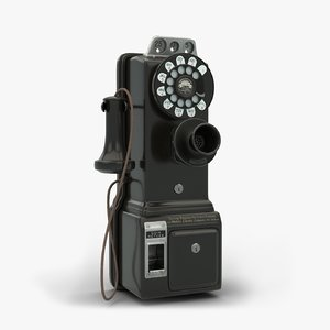 3D model gray western 50g payphone