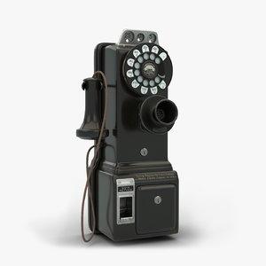 3D model gray western 50g payphone