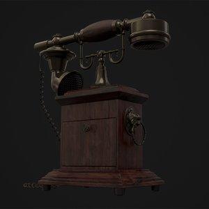 3D antique telephone