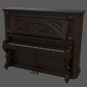 3D antique upright piano model